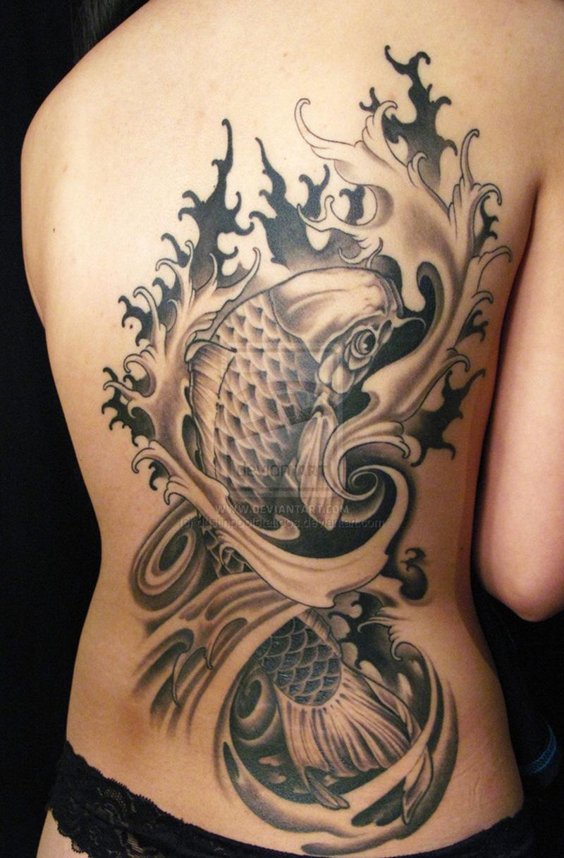 Big koi fish tattoo on side back