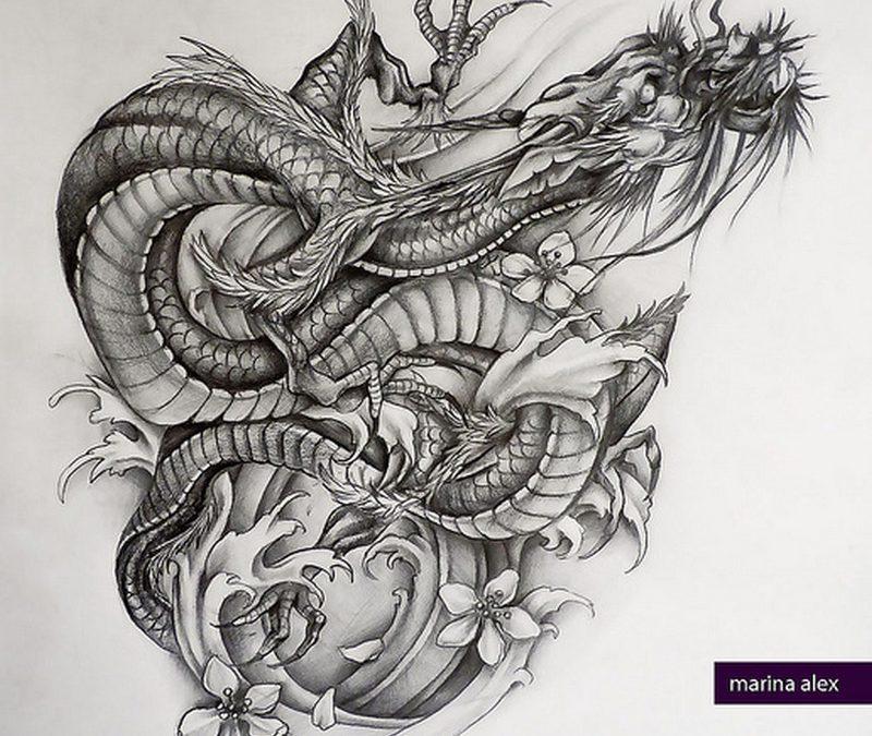Big tattoo design of asian dragon