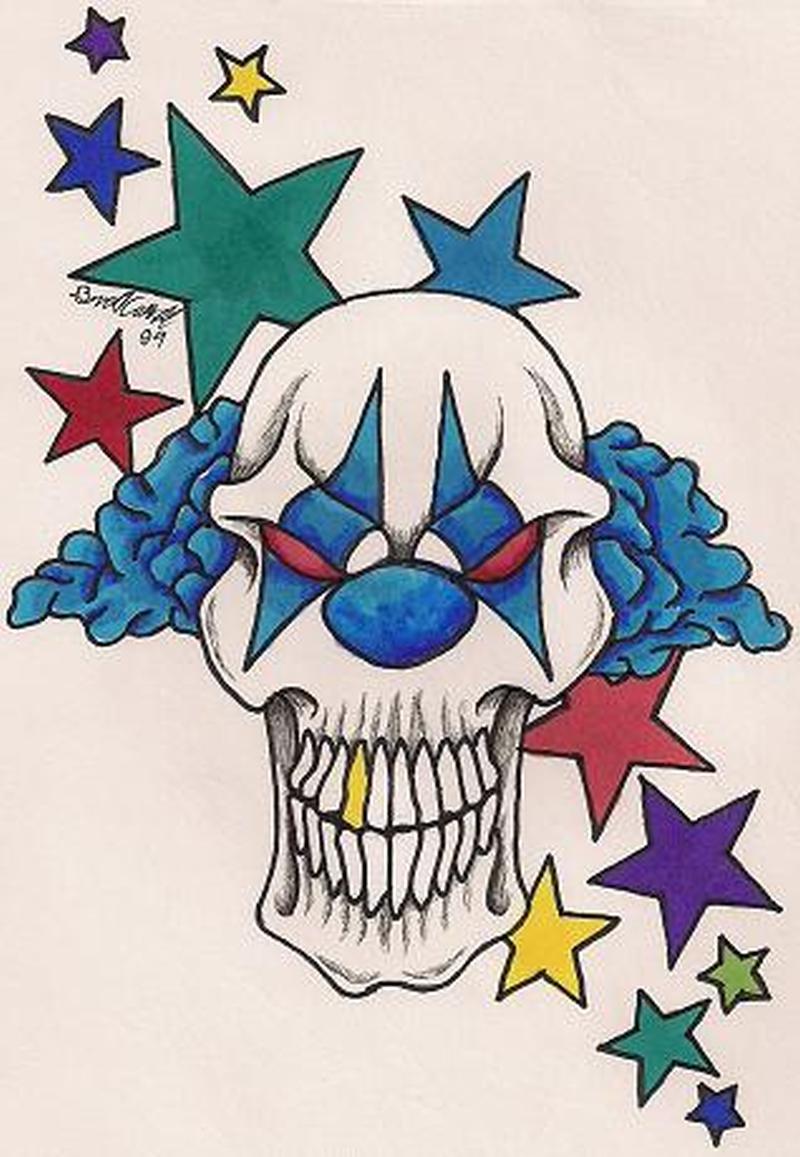 Big teeth clown with stars tattoo design