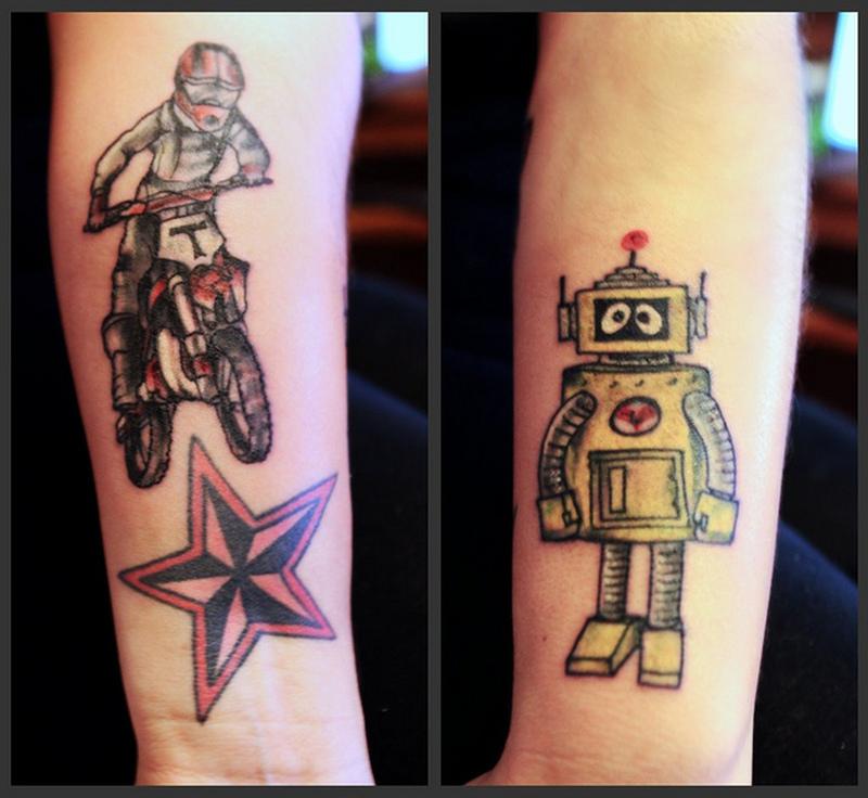 Bike nautical star robot tattoo