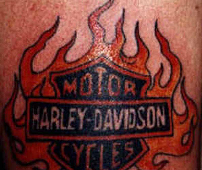 Bike tattoo in flames