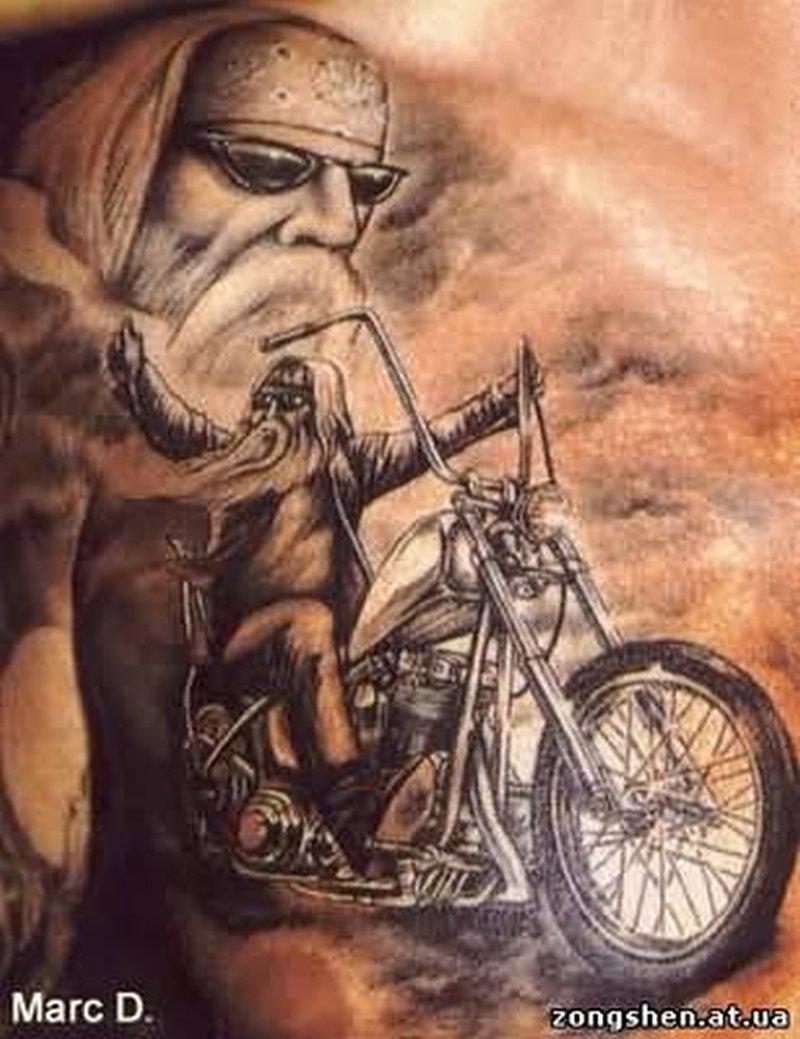 Bike tattoo on chest