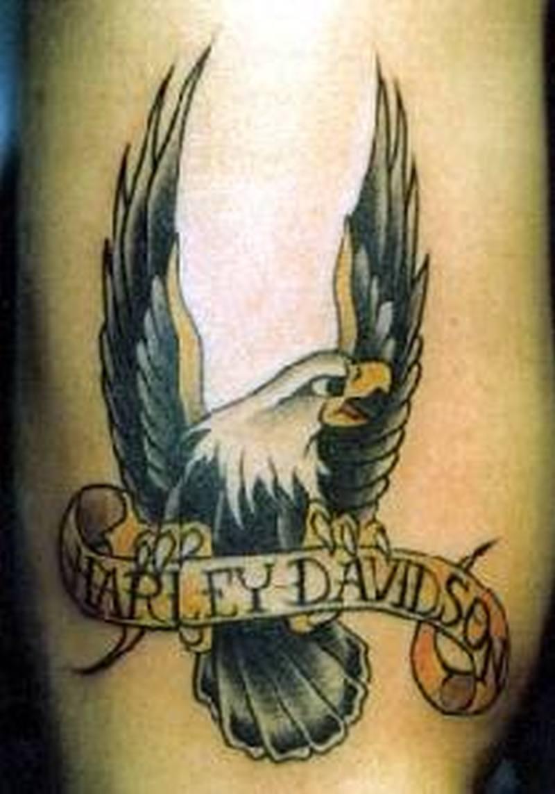 Bike tattoo showing harley davidson symbol