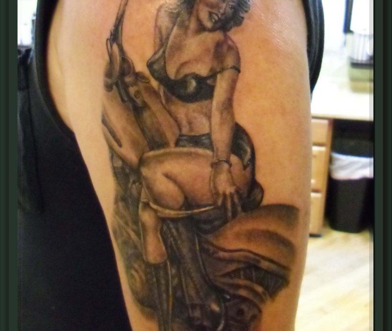 Biker pin up girl tattoo design tattoo