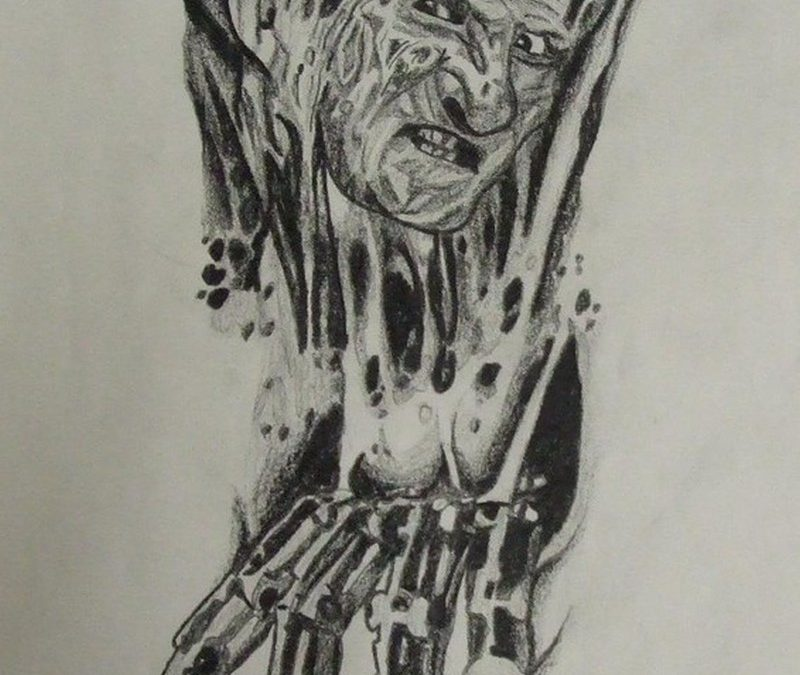 Biomech freddy horror tattoo design
