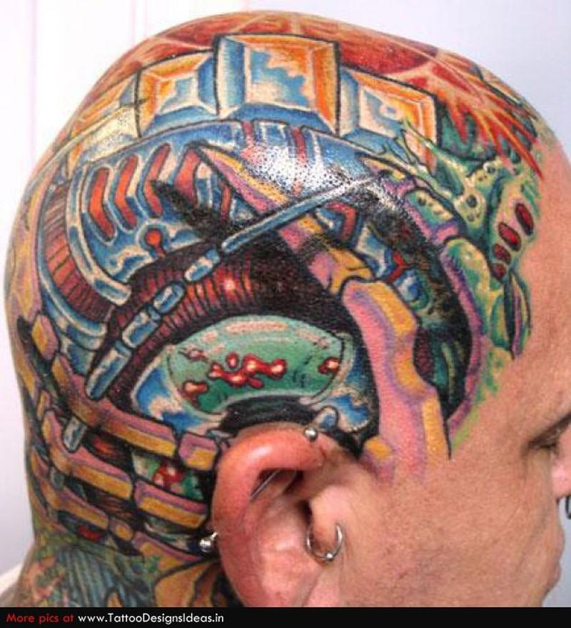 Biomech head tattoo design for men