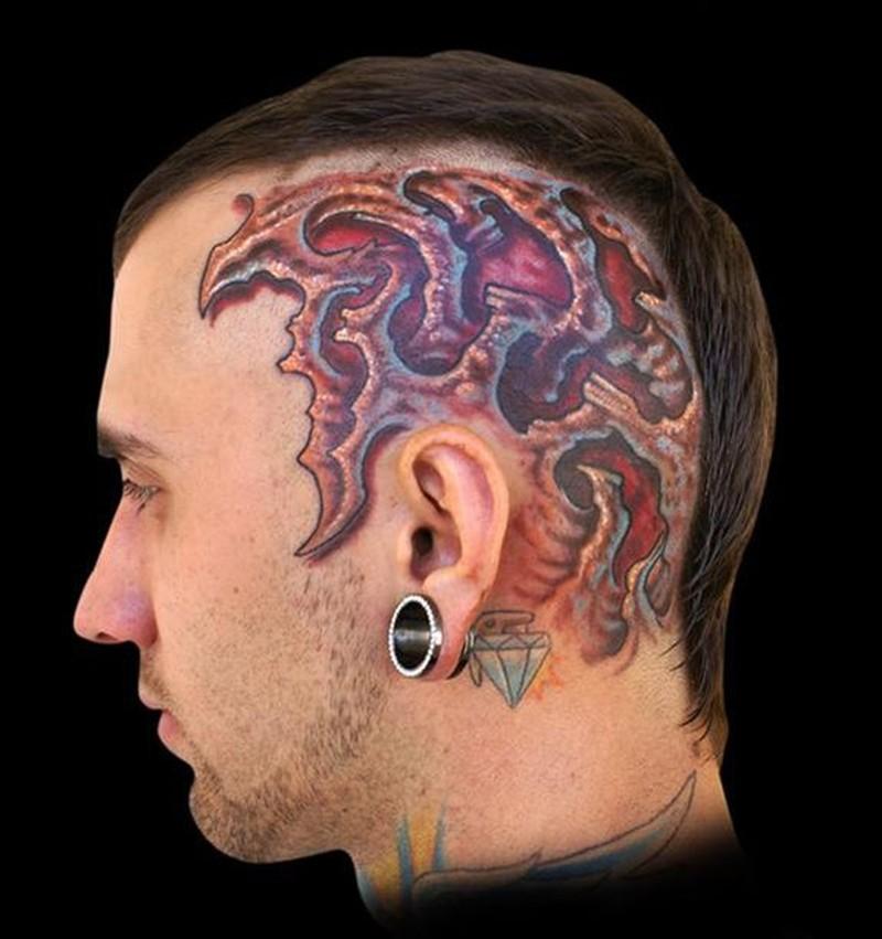 Biomech head tattoo design