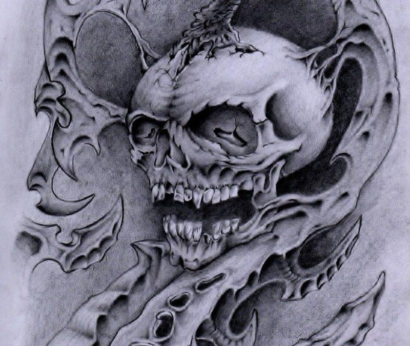 Biomech head tattoo sketch
