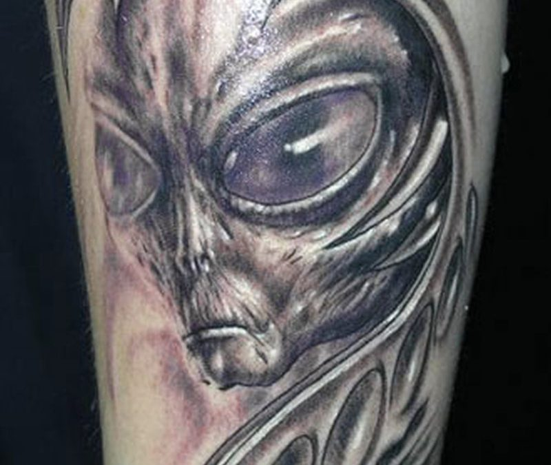 Biomech horror alien tattoo design