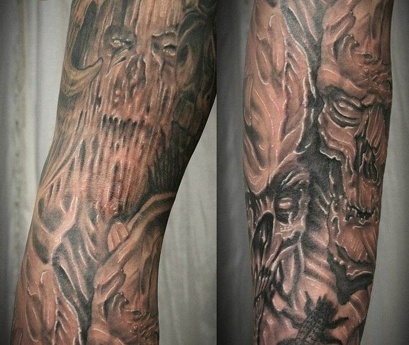 Biomech skull horror tattoo design 2