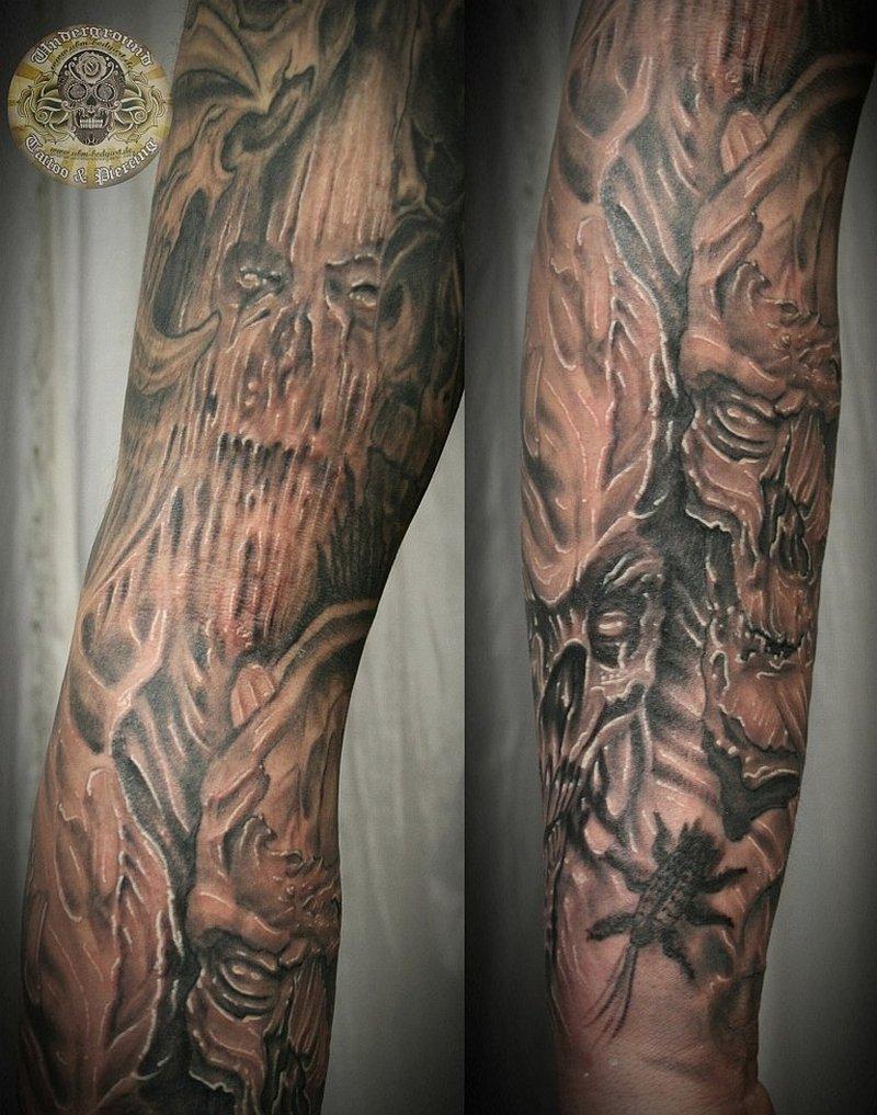 Biomech skull horror tattoo design 2