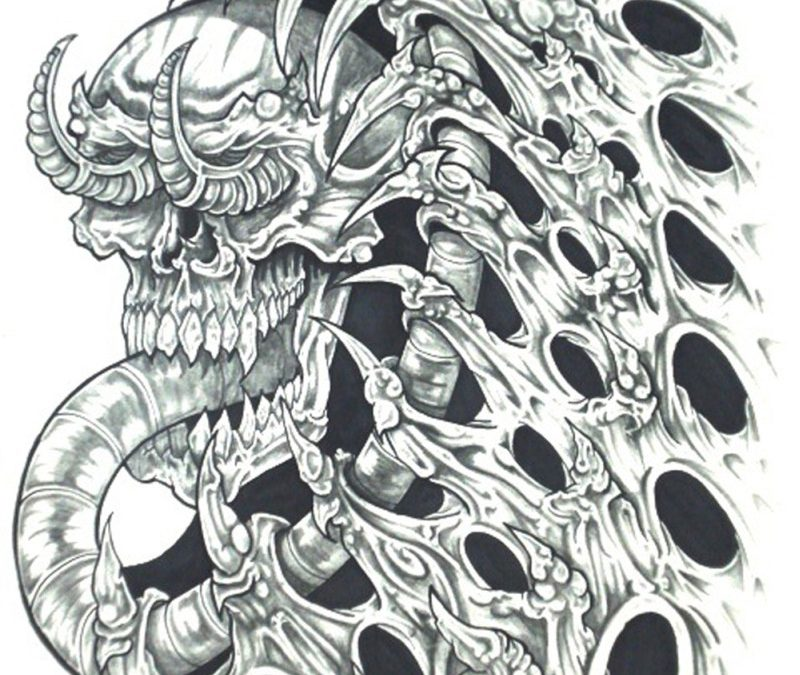 Biomech skull horror tattoo design