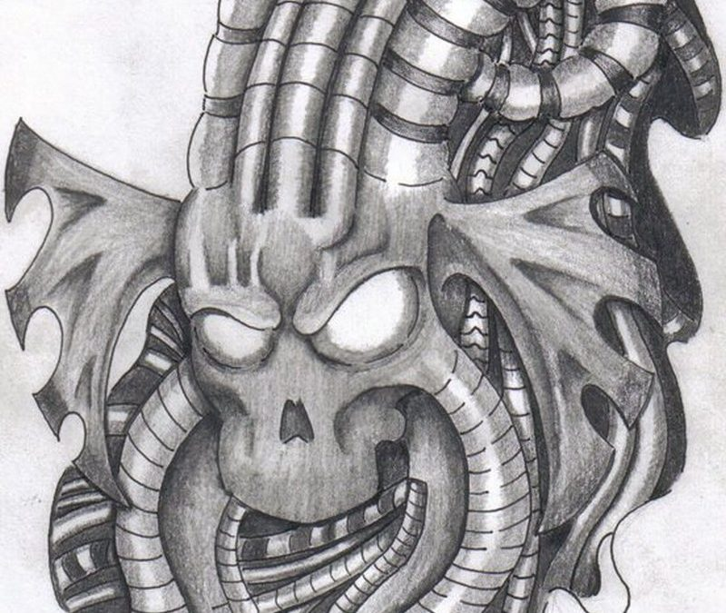 Biomechanical alien tattoo design 2