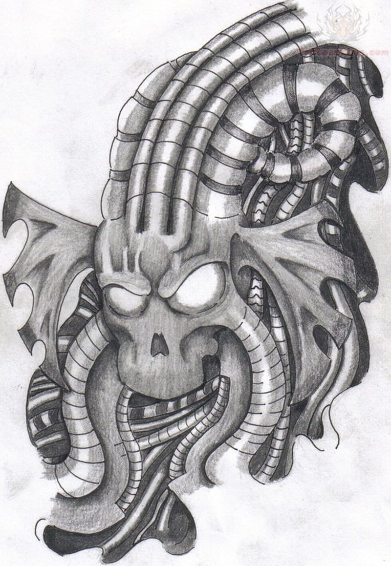 Biomechanical alien tattoo design 2