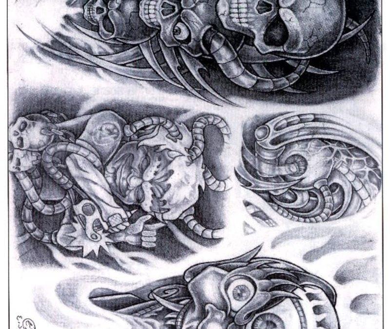 Biomechanical alien tattoo designs