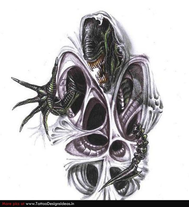Biomechanical alien tattoo