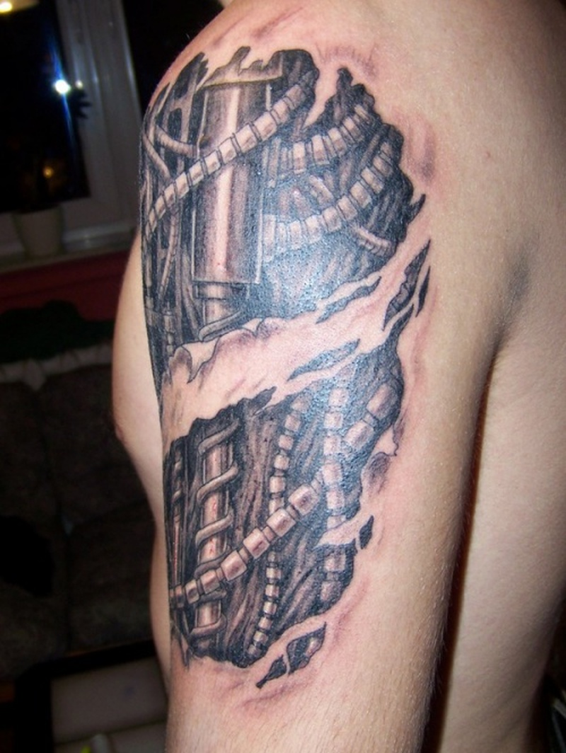 Biomechanical biceps tattoo for men
