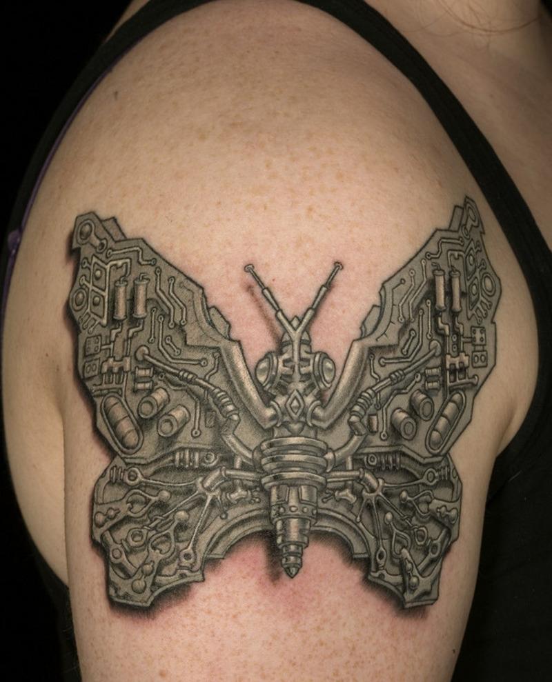 Biomechanical butterfly tattoo design