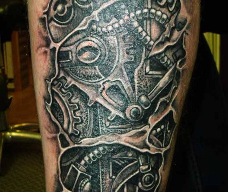 Biomechanical calf tattoo design
