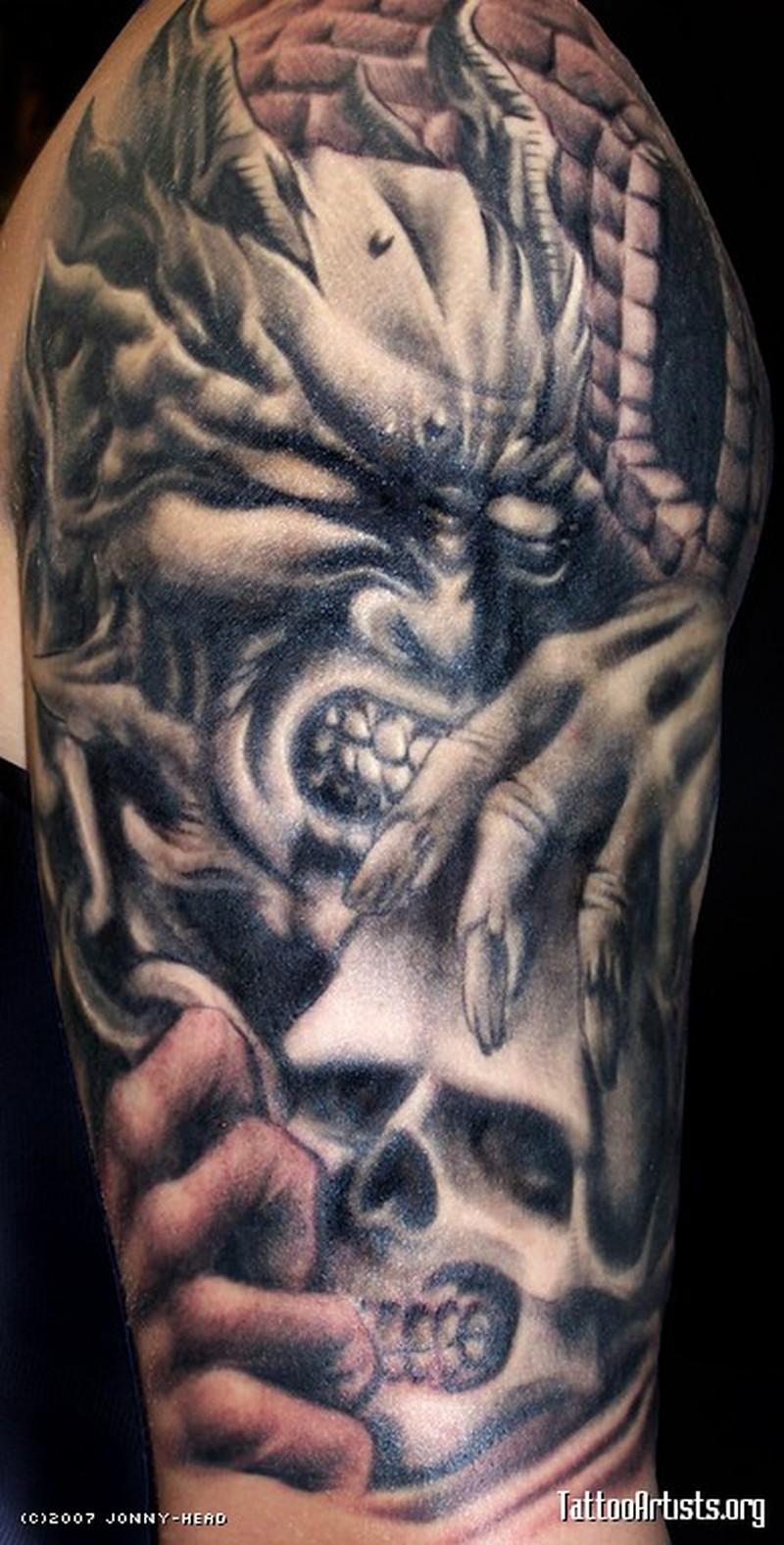 Biomechanical demon skull tattoo design - Tattoos Book ...