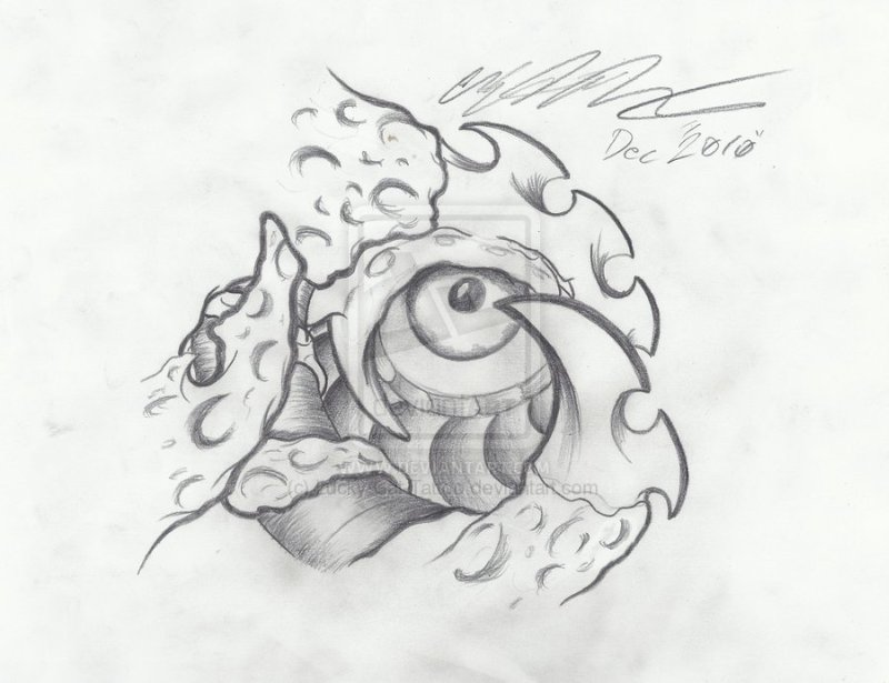 Biomechanical eye sketch tattoo