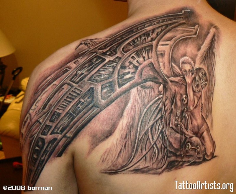 Biomechanical fallen angel tattoo design