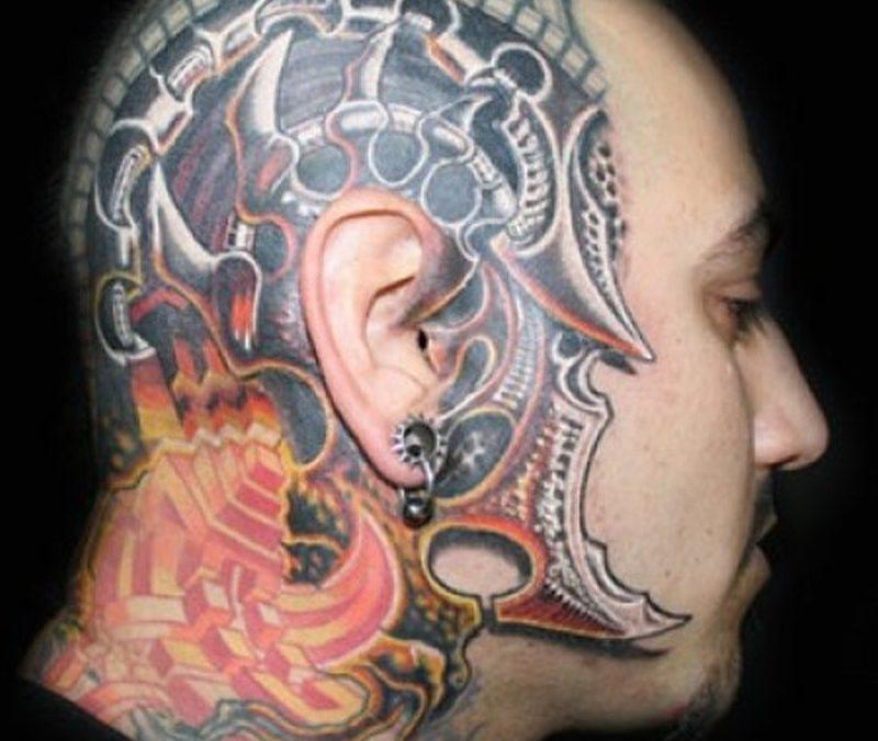 Biomechanical head tattoo design