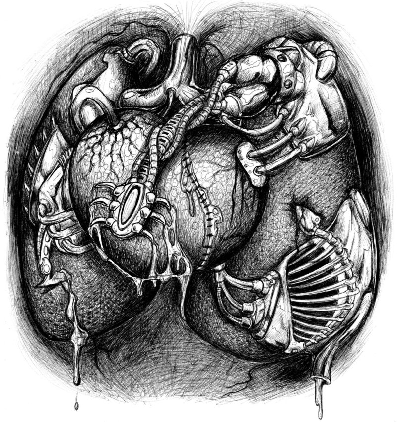 Biomechanical heart tattoo design