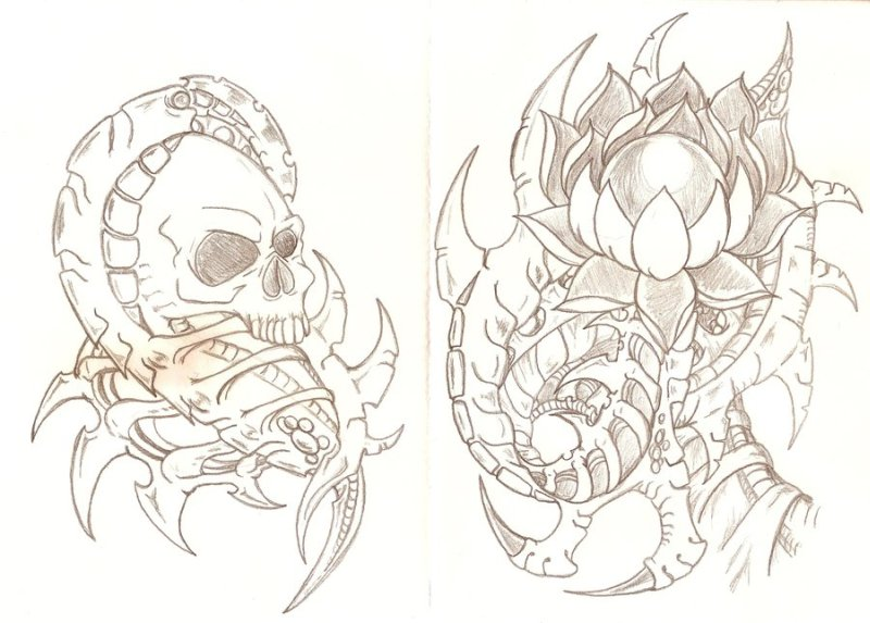 Biomechanical skull lotus tattoo design
