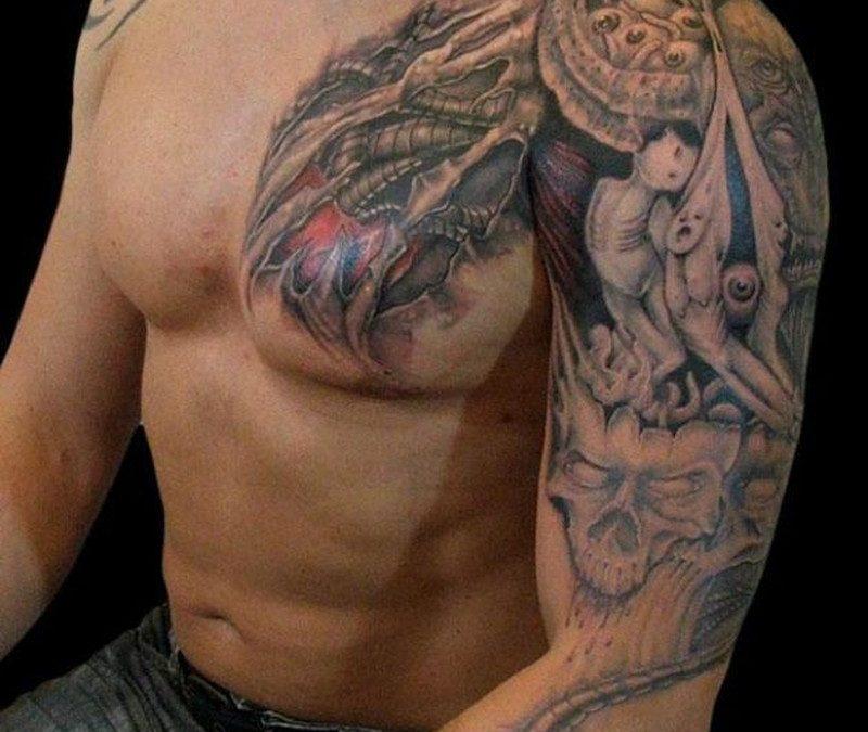 Biomechanical skull tattoo for men