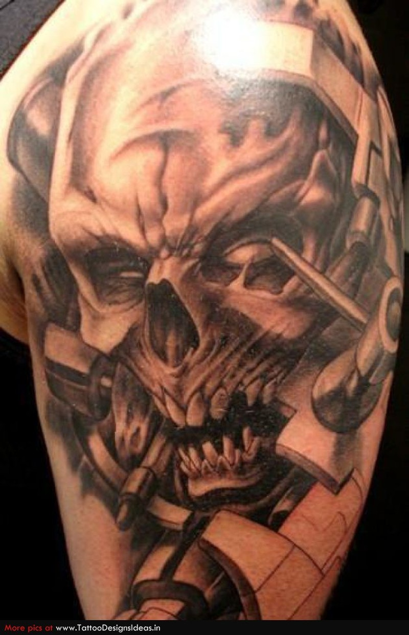 Biomechanical skull tattoo sample