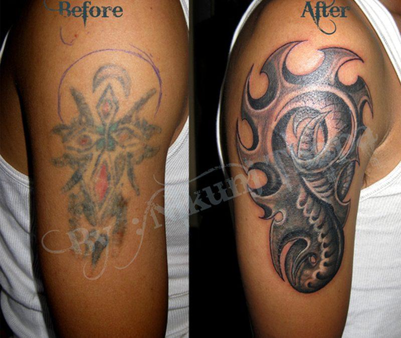 Biomechanical tattoo design for biceps