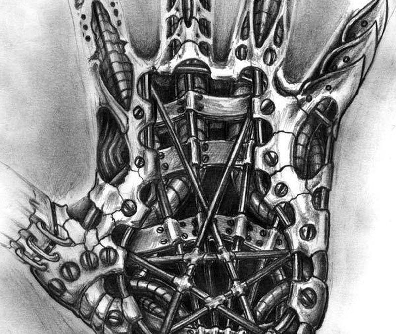 Biomechanical tattoo design for hand