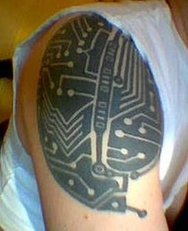 Biomechanical tattoo design on shoulder for men