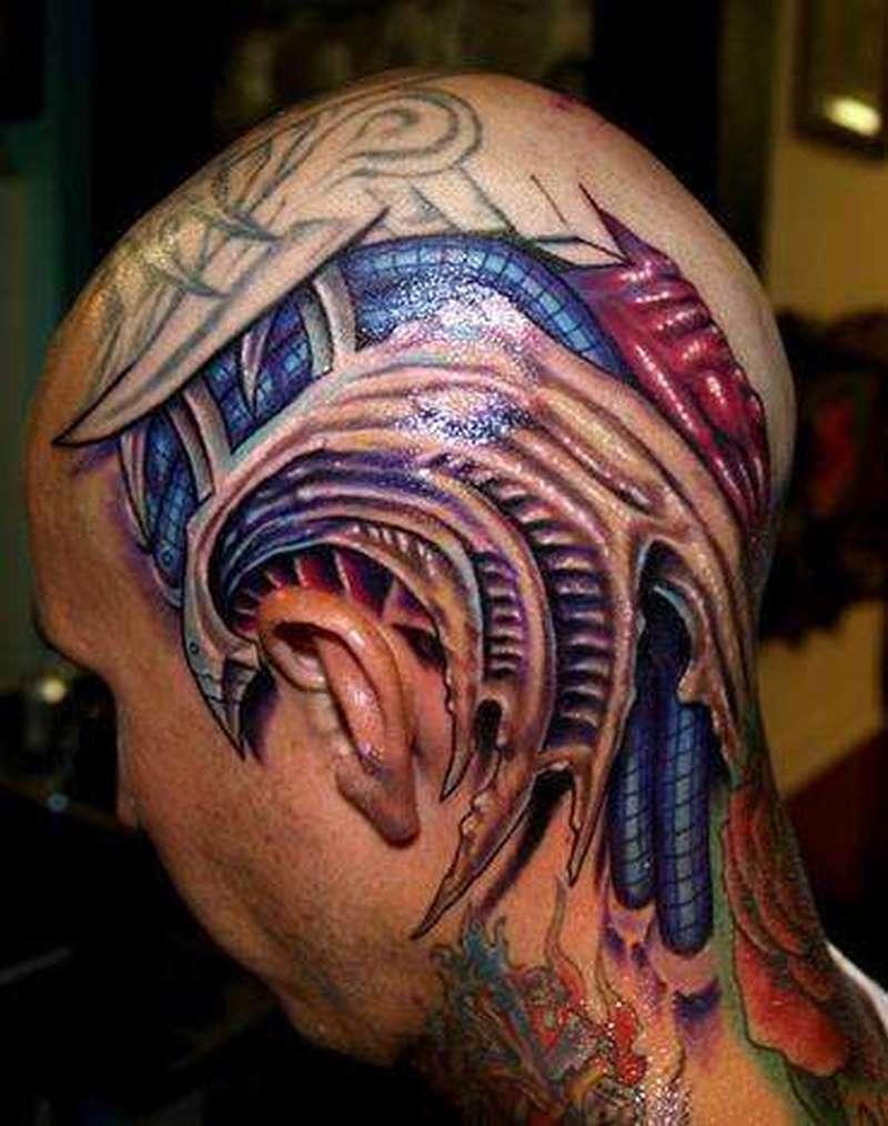 Biomechanical tattoo on my head