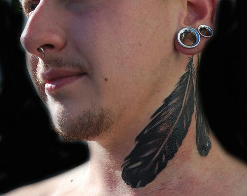 Bird feathers tattoo on neck