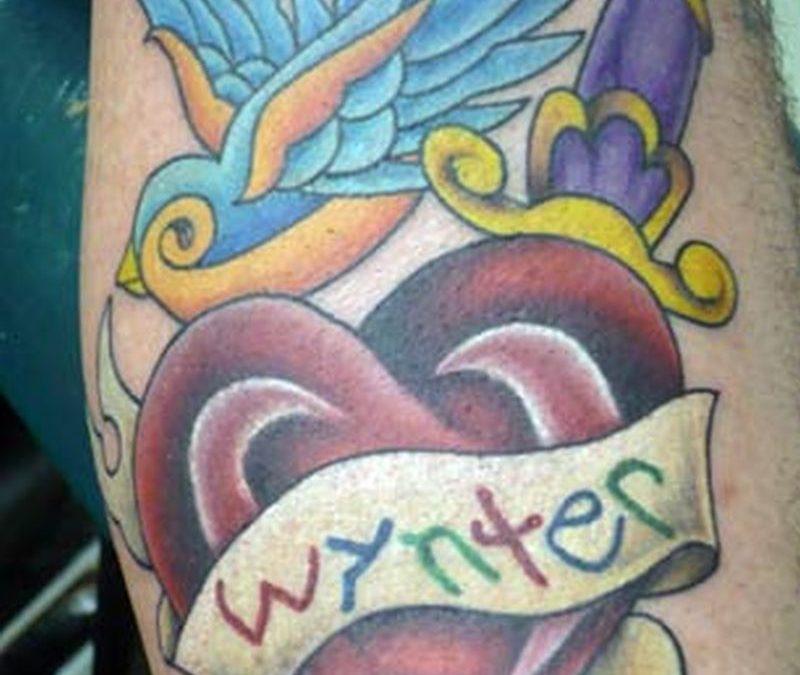 Bird n heart dagger tattoo