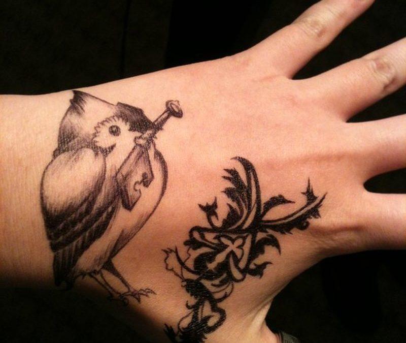 Bird w key hand tattoo designs