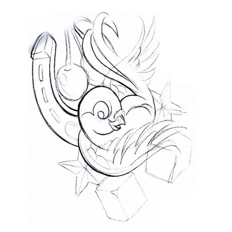 Bird with horseshoe tattoo design