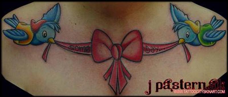 Birds bow tattoo design