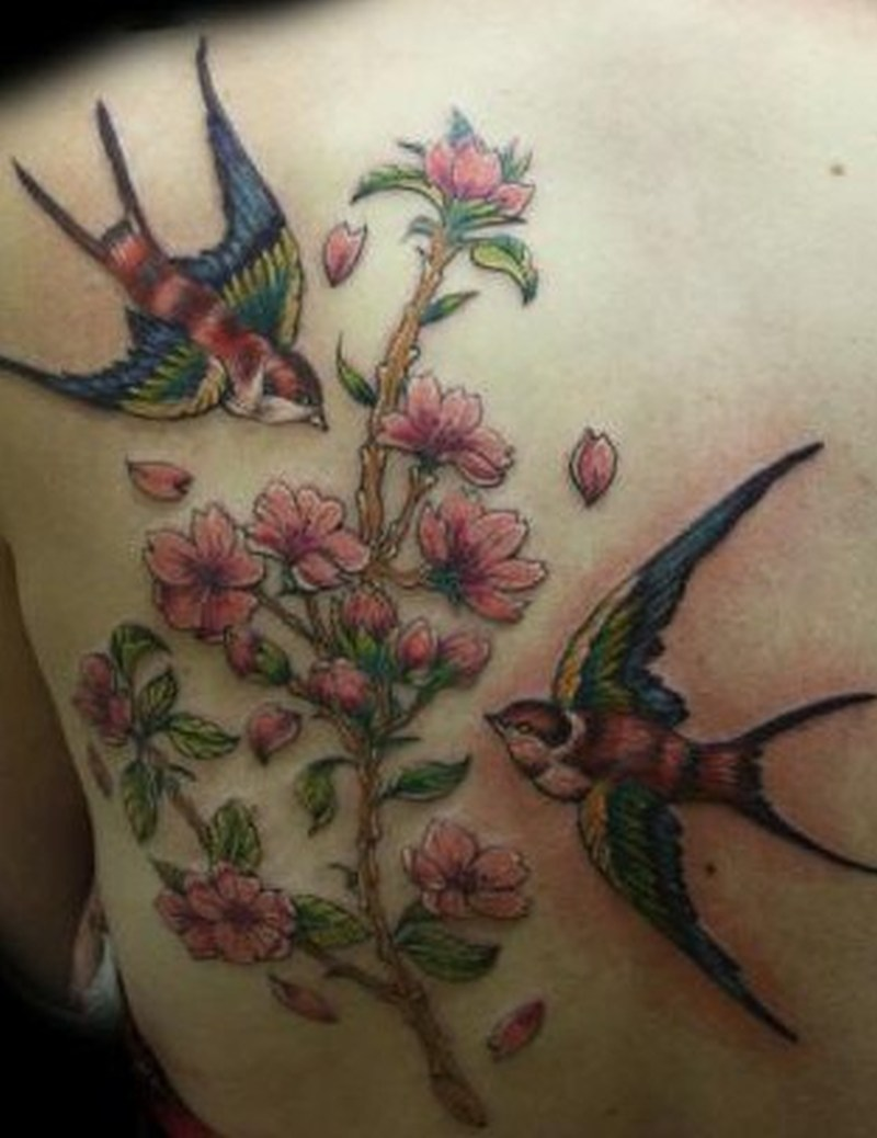 Birds flower branch tattoo design