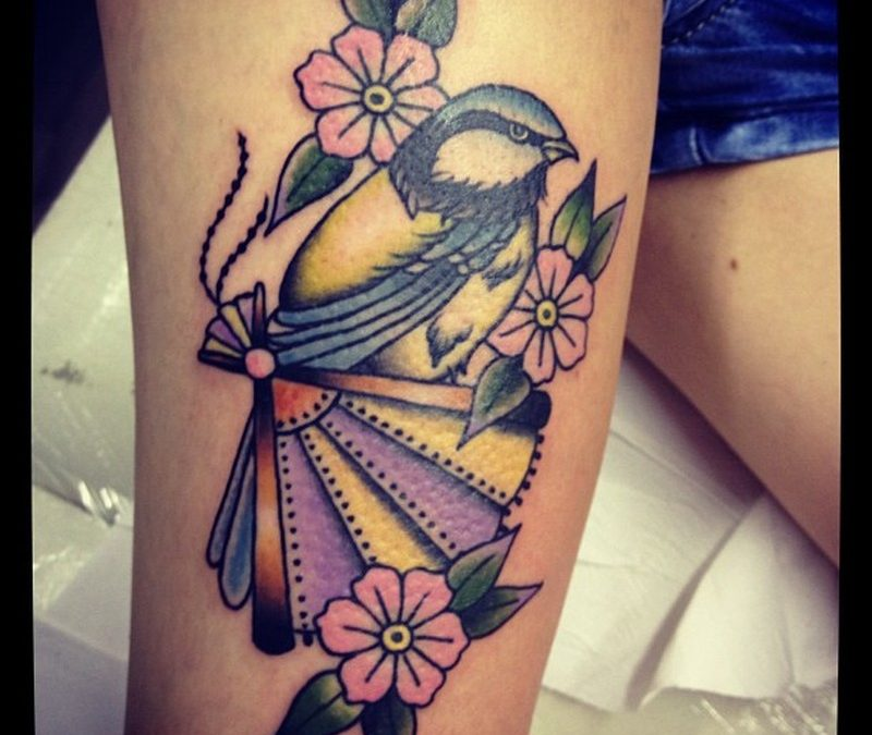 Birds flowers tattoo design