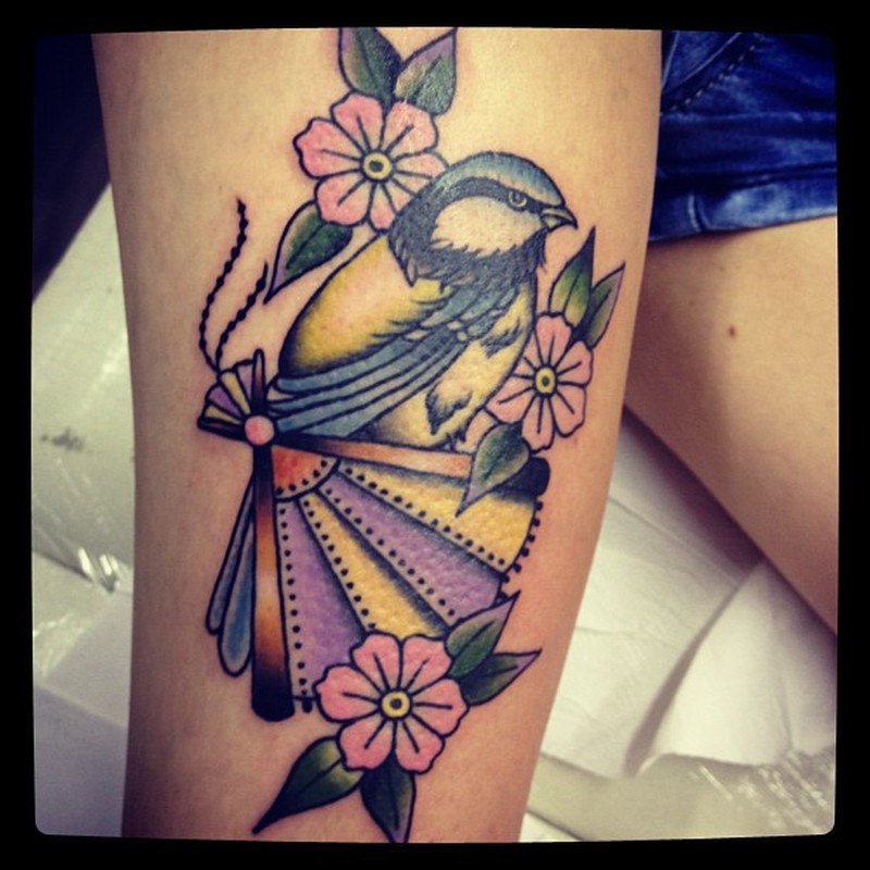 Birds flowers tattoo design