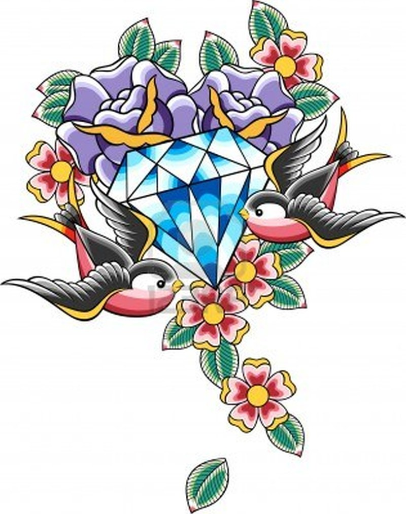 Birds n diamond tattoo designs
