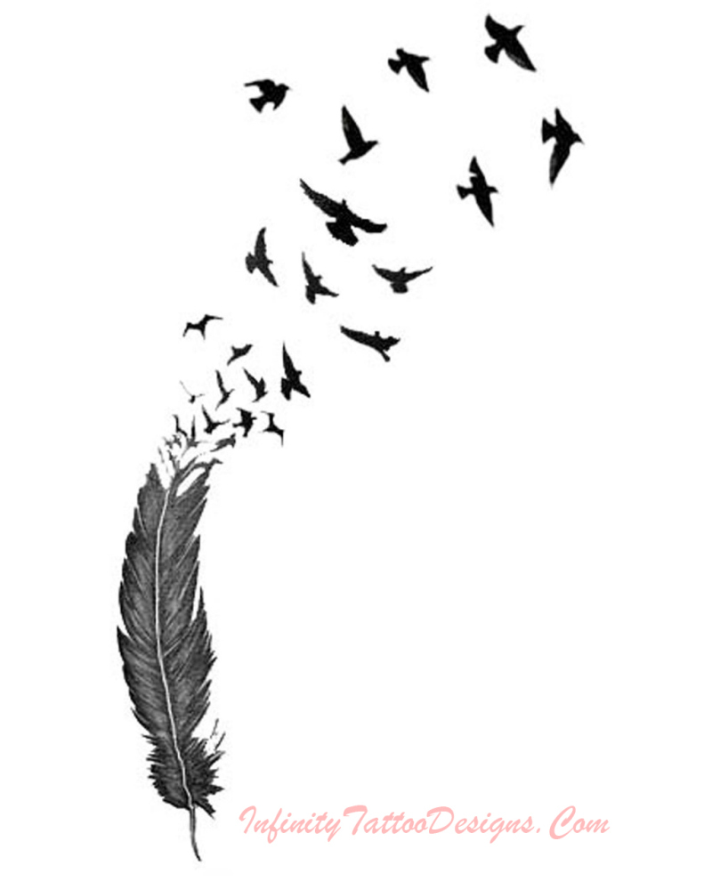 Birds n feather tattoo stencil