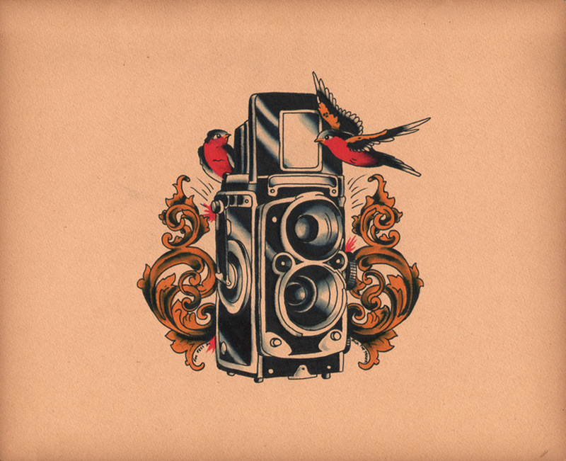 Birds with camera tattoo design