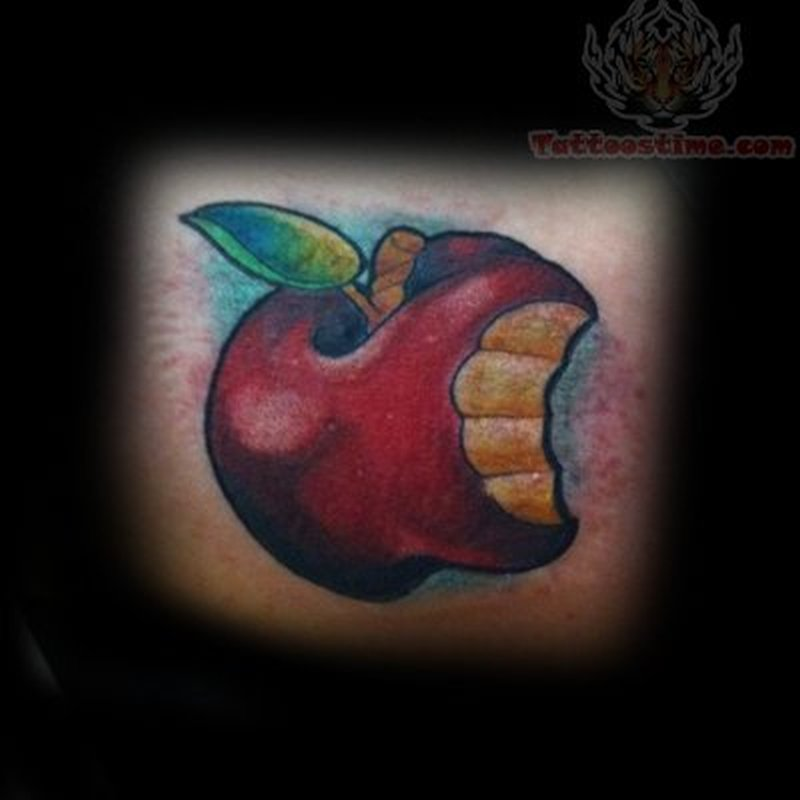 Bitten apple tattoo design