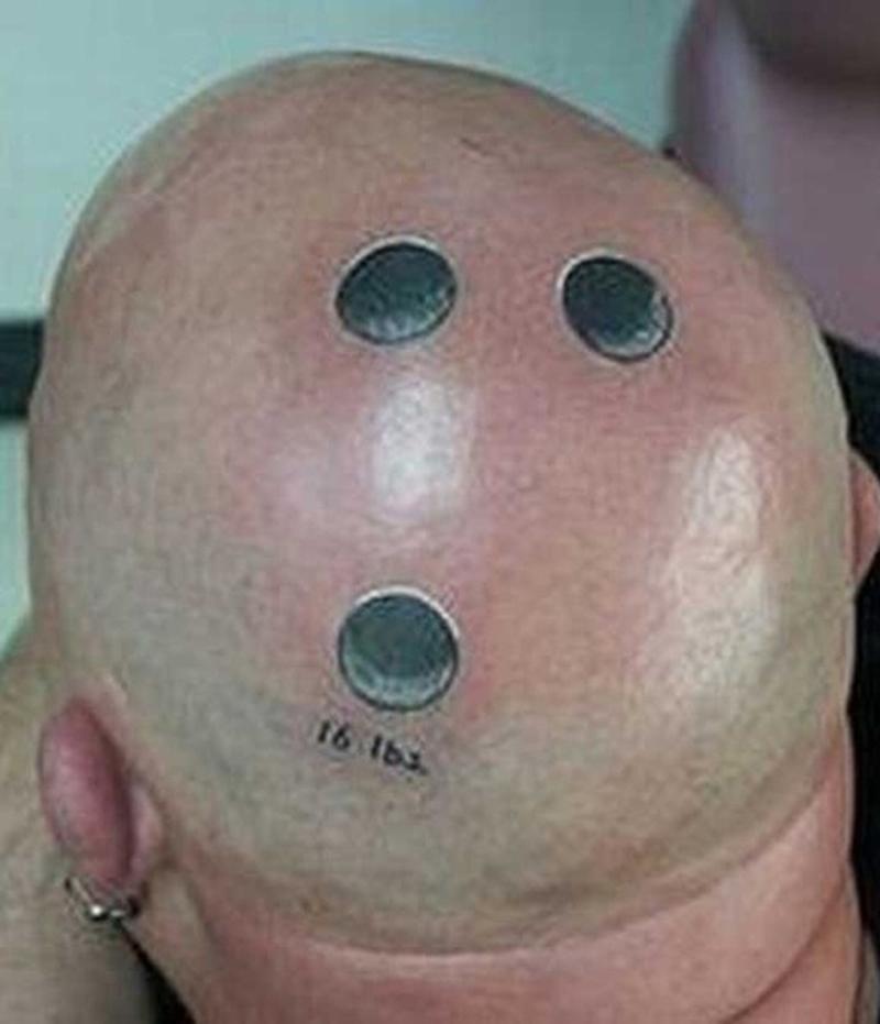 Bizarre nd funny tattoo on head