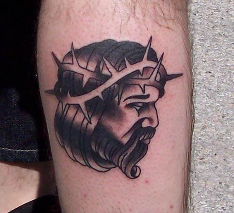 Black and grey traditional jesus tattoo design tattoos for Traditional black and grey tattoo