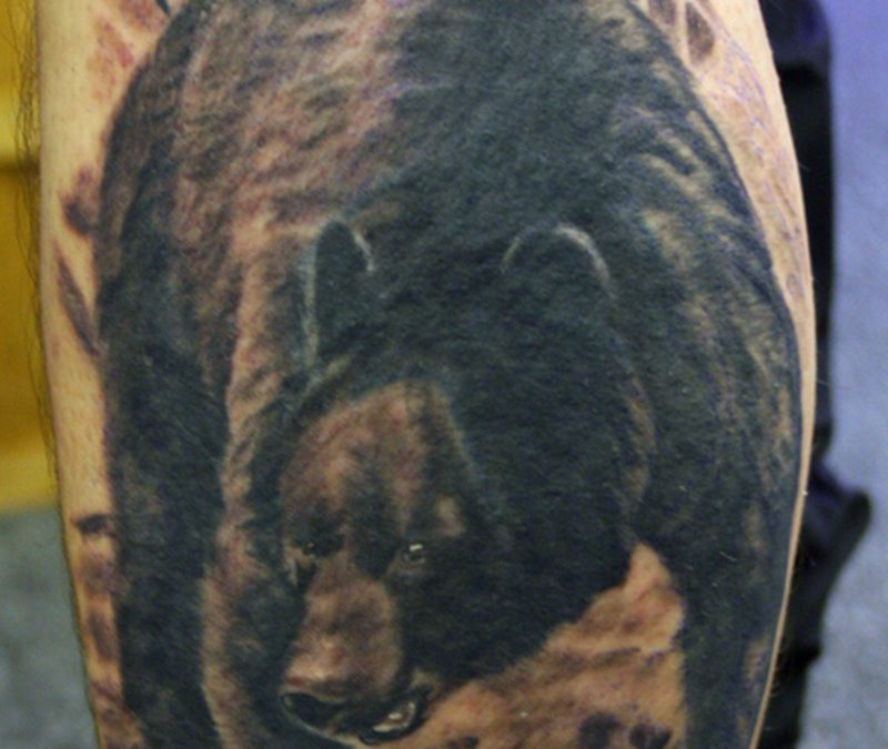 Black bear large tattoo